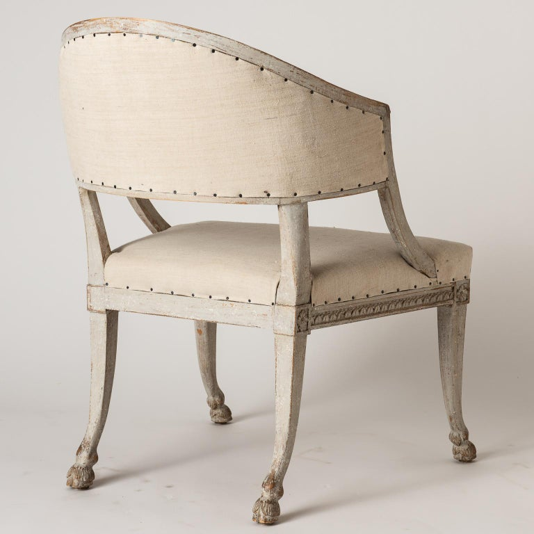 Pair of Swedish Gustavian Style Barrel Back Chairs with Hoof Feet, circa 1880 For Sale 7