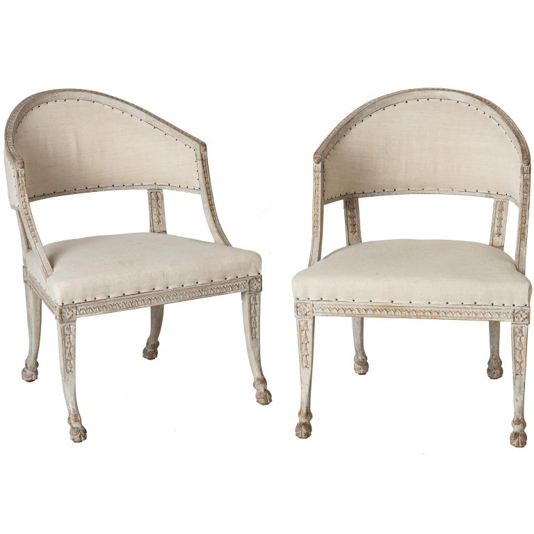 Pair of Swedish Gustavian Style Barrel Back Chairs with Hoof Feet, circa 1880 For Sale