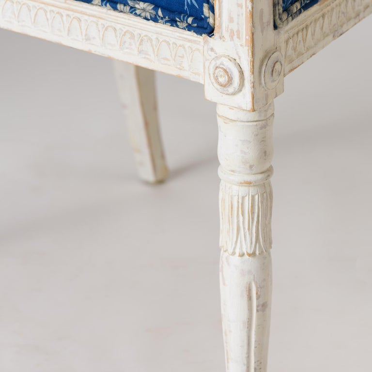 Pair of Swedish Late Gustavian Armchairs with Old White Paint, circa 1820 For Sale 2