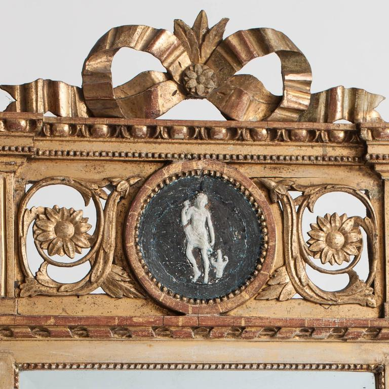 Giltwood Swedish Gustavian Period Signed Stockholm Mirror, circa 1780 For Sale