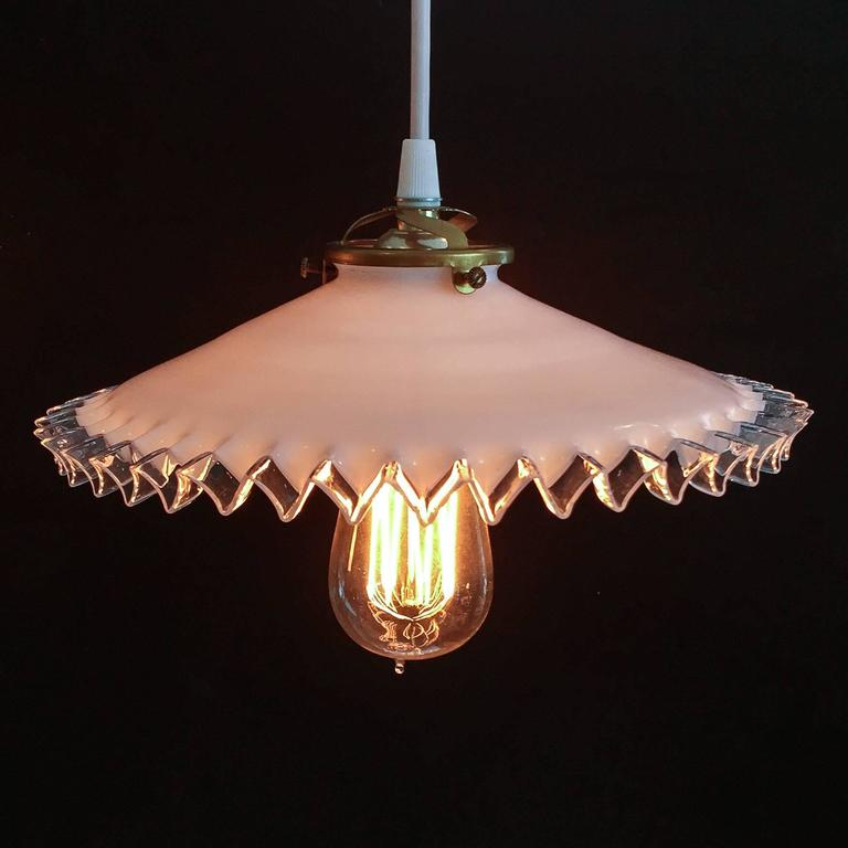 French Hanging Light Fixtures with Antique Shades, circa ...