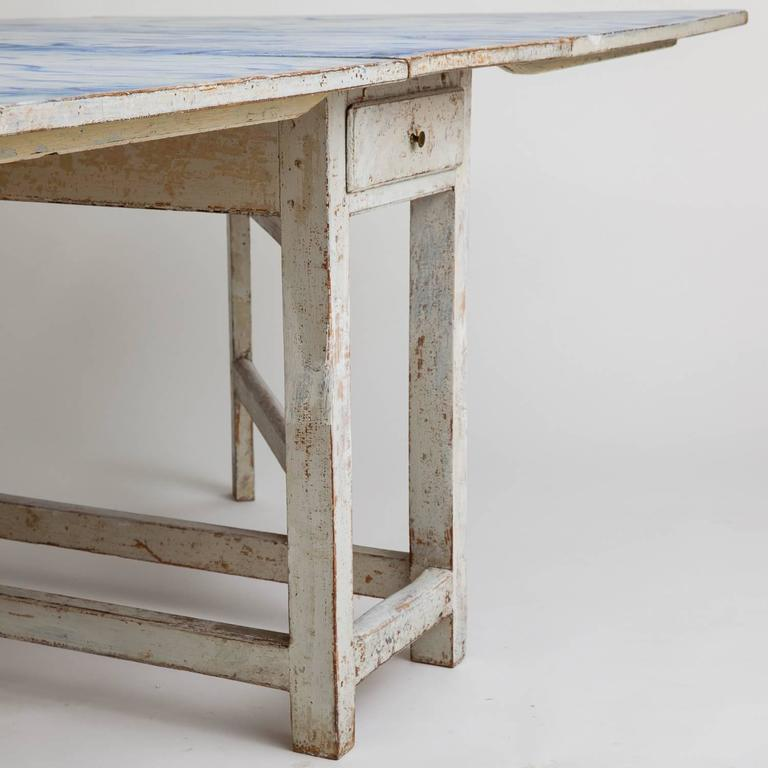 Wood Swedish Blue and White Original Painted Drop-Leaf Table, circa 1820 For Sale