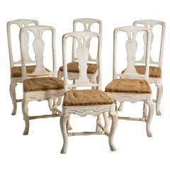 Set of Six Swedish Rococo Style Dining Chairs, circa 1880