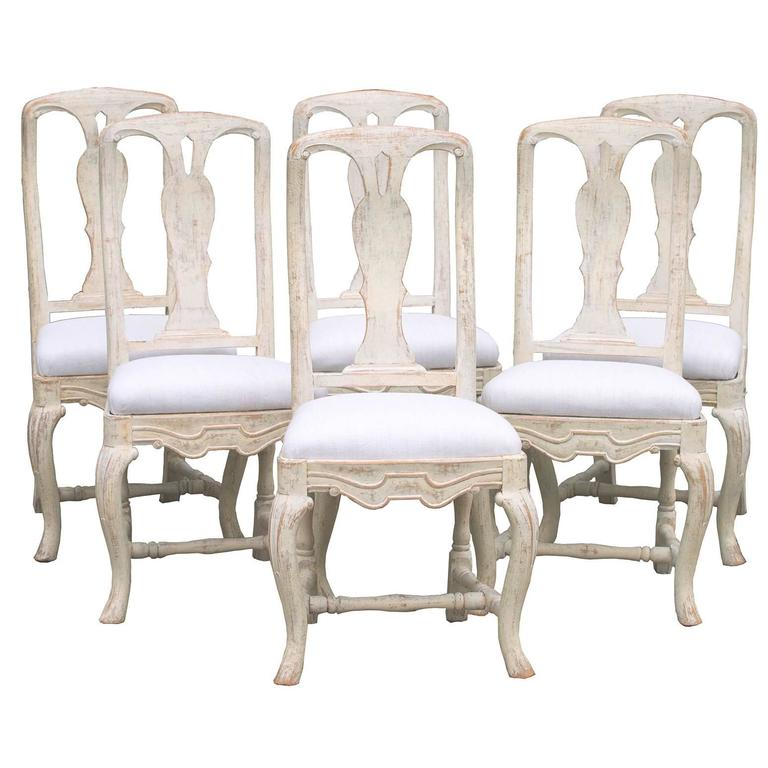 Set of six swedish rococo style dining chairs circa 1880 for Swedish style dining chairs