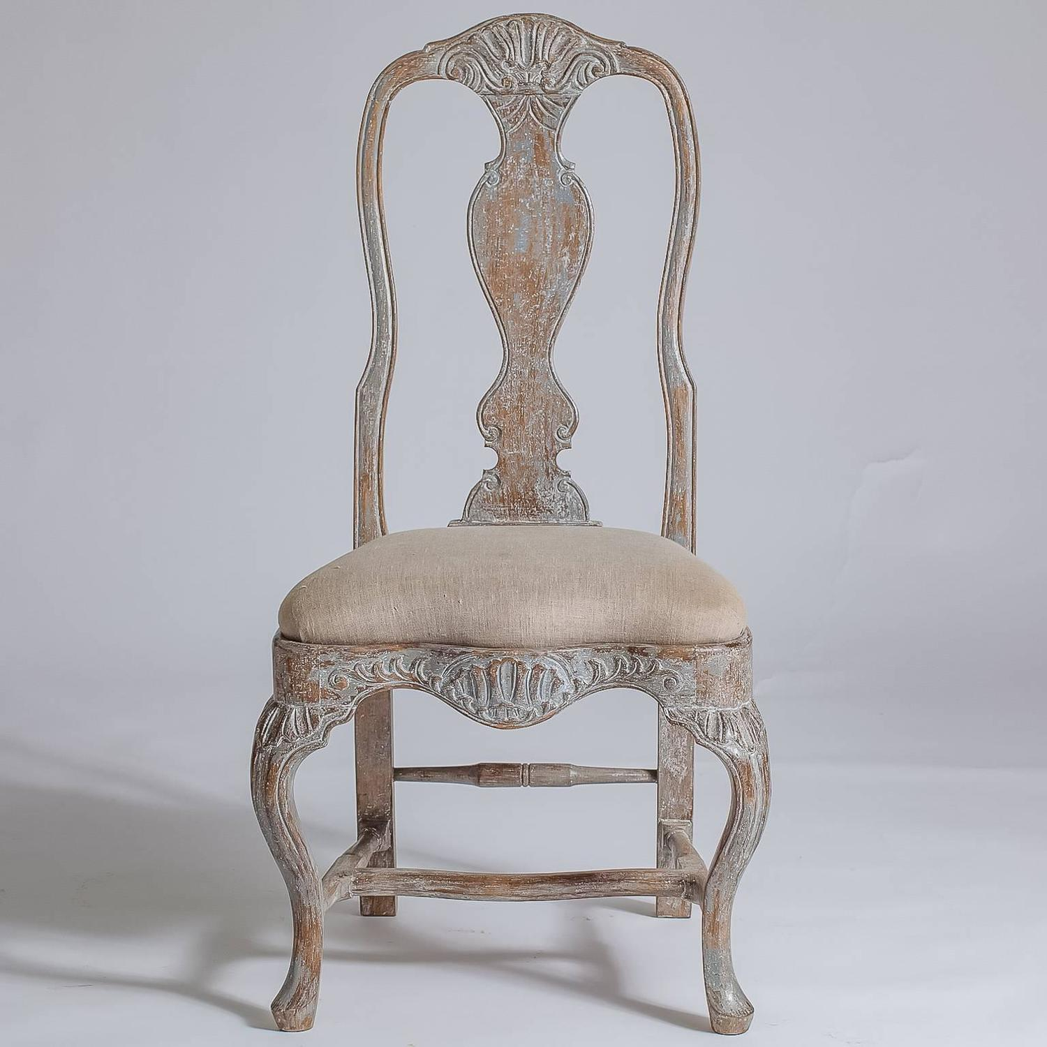 Set of six swedish rococo style dining chairs late 19th for Swedish style dining chairs