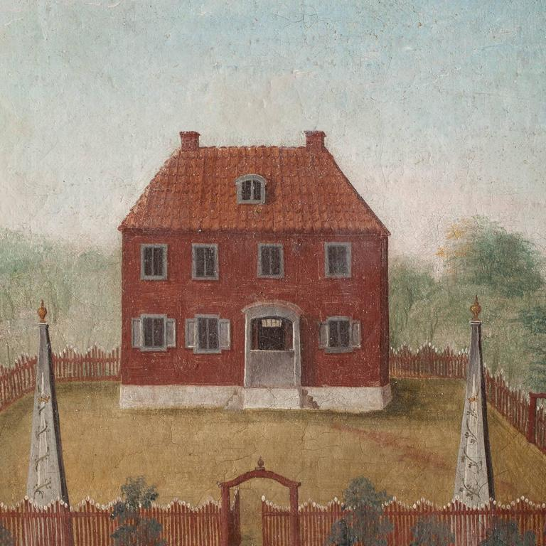 This charming Swedish, Folk Art painting depicts a very prominent estate in Halsingland, where water power was used in manufacturing. The painting probably decorated the wall in the house and was removed sometime later with its original frame. This