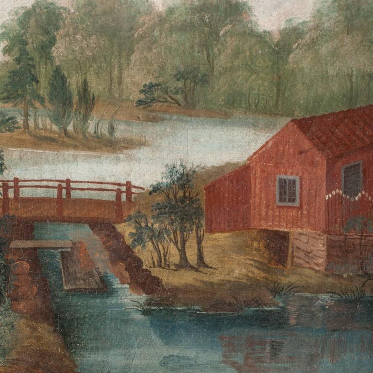 Swedish, Folk Art Wall Painting, Oil on Linen, circa 1790 In Good Condition For Sale In New Preston, CT