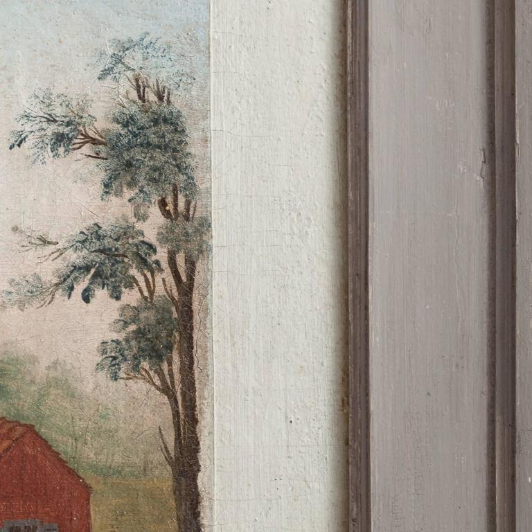 Swedish, Folk Art Wall Painting, Oil on Linen, circa 1790 For Sale 1