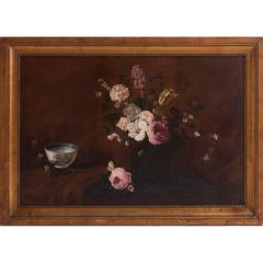Belgian 19th Century Oil on Canvas Still Life of Flowers by Henri Robbe