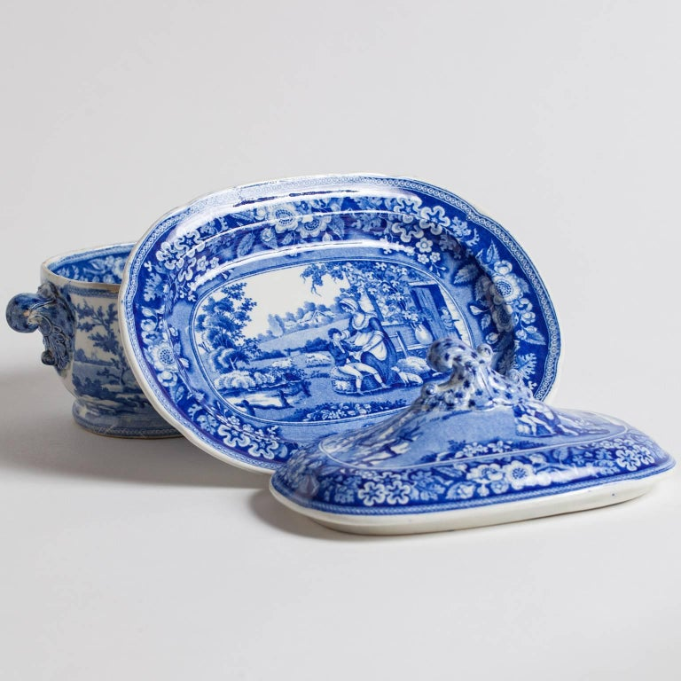 "Three-Piece Blue and White Covered Sauceboat ""The Blind Boy"", circa 1840 2"