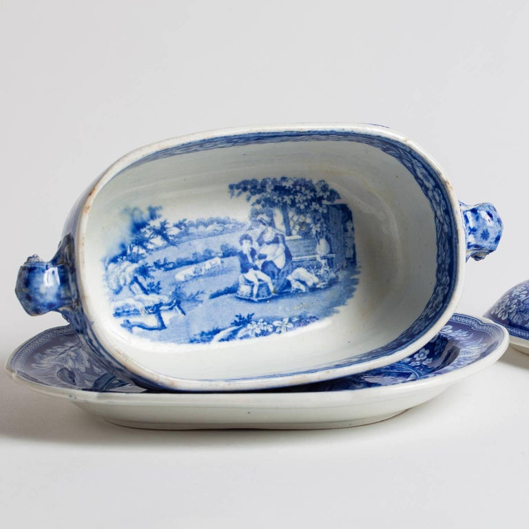 "Three-Piece Blue and White Covered Sauceboat ""The Blind Boy"", circa 1840 4"