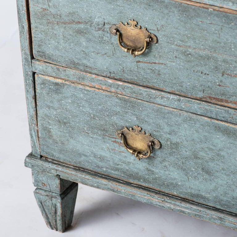 Swedish Late Rococo Period Secretary in Soft Green/Blue Paint, circa 1780 4