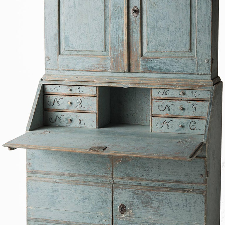 Swedish Early 19th Century Blue Painted Secretary Circa 1837 In Excellent Condition For