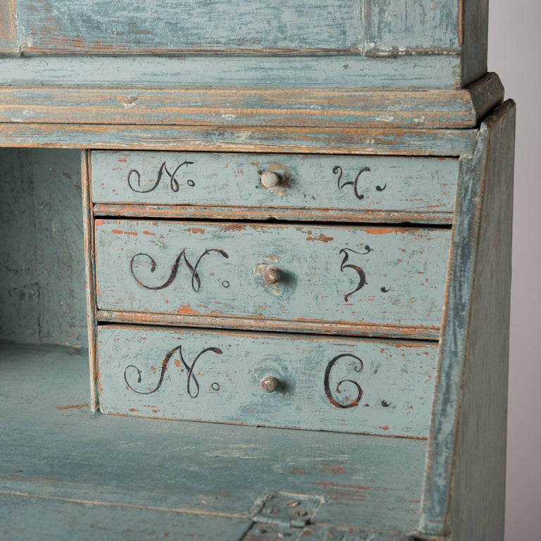 Wood Swedish Early 19th Century Blue Painted Secretary, circa 1837 For Sale
