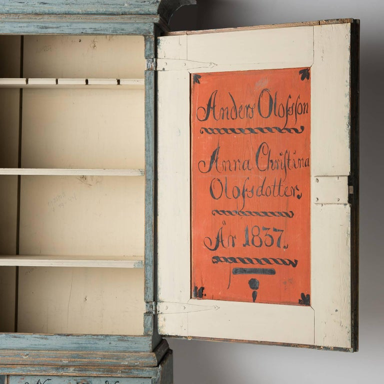 Swedish Early 19th Century Blue Painted Secretary, circa 1837 For Sale 1