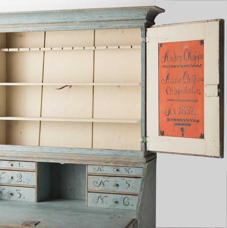 Swedish Early 19th Century Blue Painted Secretary, circa 1837 For Sale 2