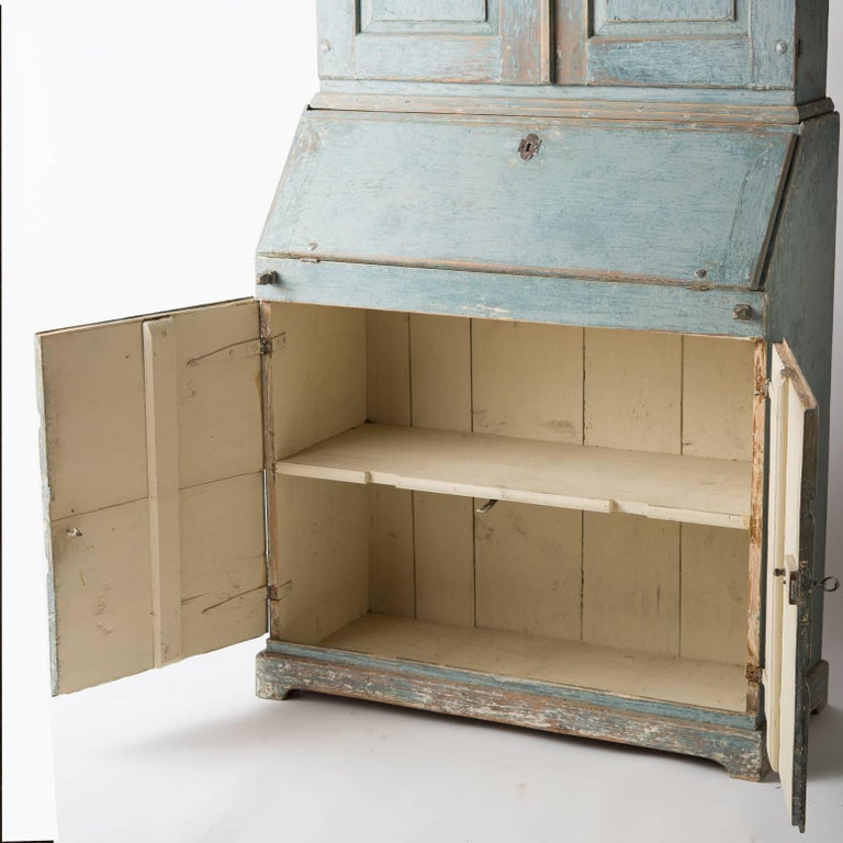 Swedish Early 19th Century Blue Painted Secretary, circa 1837 For Sale 4