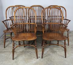 Set of Eight Elm Windsor Armchairs