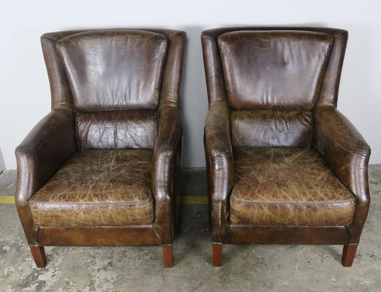Art Deco Pair of Tobacco Colored Leather Armchairs For Sale