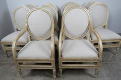 Set of Ten Italian Painted and Parcel-Gilt Dining Chairs