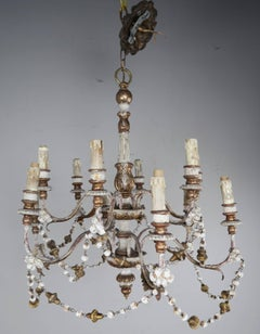 Italian Wood Beaded Painted and Parcel-Gilt Chandelier