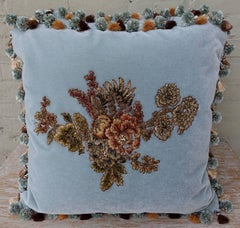 Light Blue Velvet Pillows with Floral Applique and Round Tassel Trim - A Pair