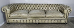 English Leather Tufted Chesterfield Sofa