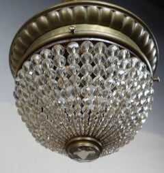 French Crystal Beaded Ceiling Fixture C. 1920's