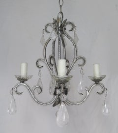 Rock Crystal Pewter Framed Beaded Chandelier
