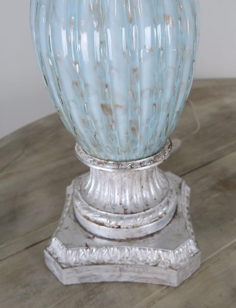 Rare Aquamarine Murano Lamps with Custom Parchment Shades, Pair In Excellent Condition For Sale In Los Angeles, CA