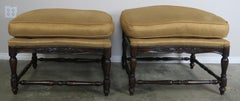 French Louis XV Style Walnut Benches with Loose Cushions circa 1900s, Pair