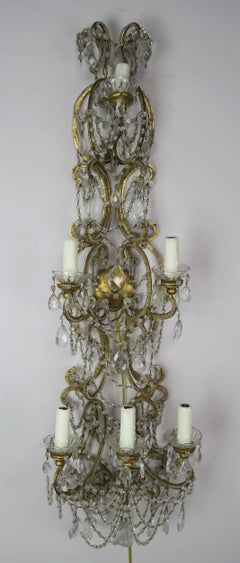 Six-Light Italian Beaded Crystal Sconce, circa 1940s