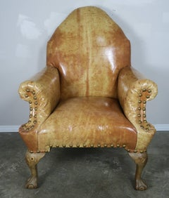 Pair of 19th C. Chippendale Style Leather Armchairs