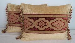Vintage Textile Cut Velvet Pillows by Melissa Levinson, Pair