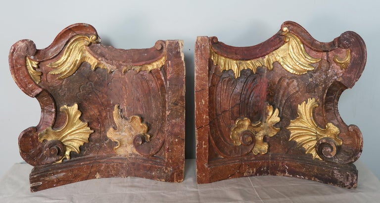 19th Century Italian Painted and Parcel-Gilt Architectural Fragments For Sale 3
