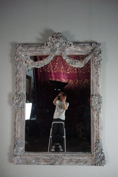 French Louis XV Rococo Style Painted Mirror w/ Garlands