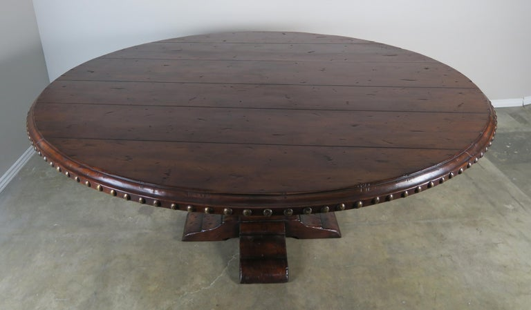 Spanish Walnut Round Dining Table With Nailhead Trim Detail In Excellent Condition For Los