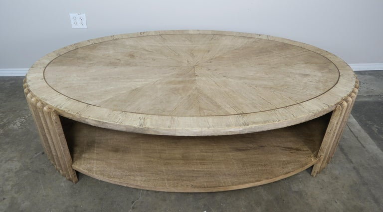 Art Deco Italian Oval Shaped Style Coffee Table For