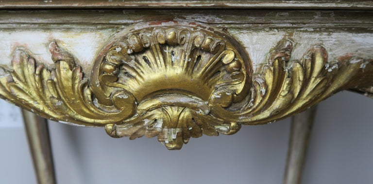 19th Century French Louis XV Painted and Parcel-Gilt Table with Marble Top For Sale 2