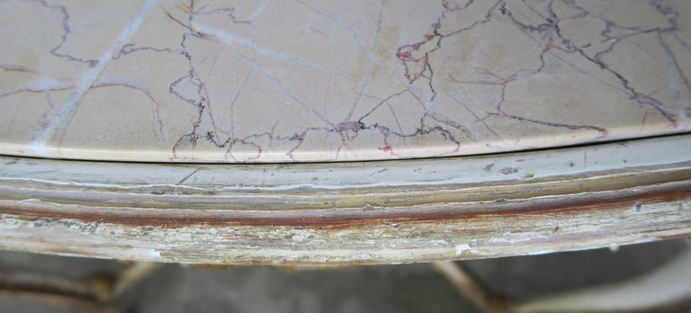 19th Century French Louis XV Painted and Parcel-Gilt Table with Marble Top For Sale 3