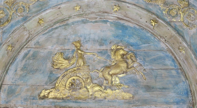 Early 20th Century Roman Classical Style Painted Mirror with Chariot and Horses For Sale