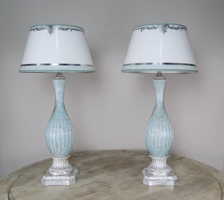 Rare Aquamarine Murano Lamps with Custom Parchment Shades, Pair For Sale 6