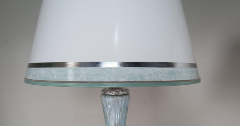 Rare Aquamarine Murano Lamps with Custom Parchment Shades, Pair For Sale 5