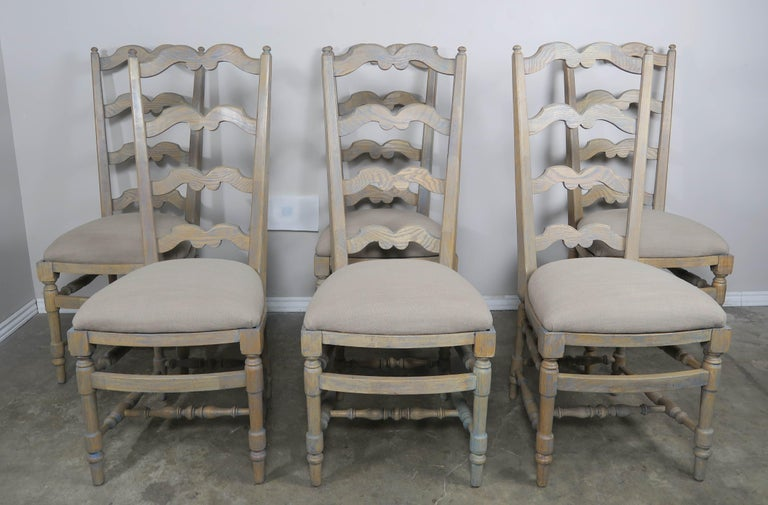 French Country Ladder Back Painted Dining Chairs, Set of 8 In Distressed Condition For Sale In Los Angeles, CA