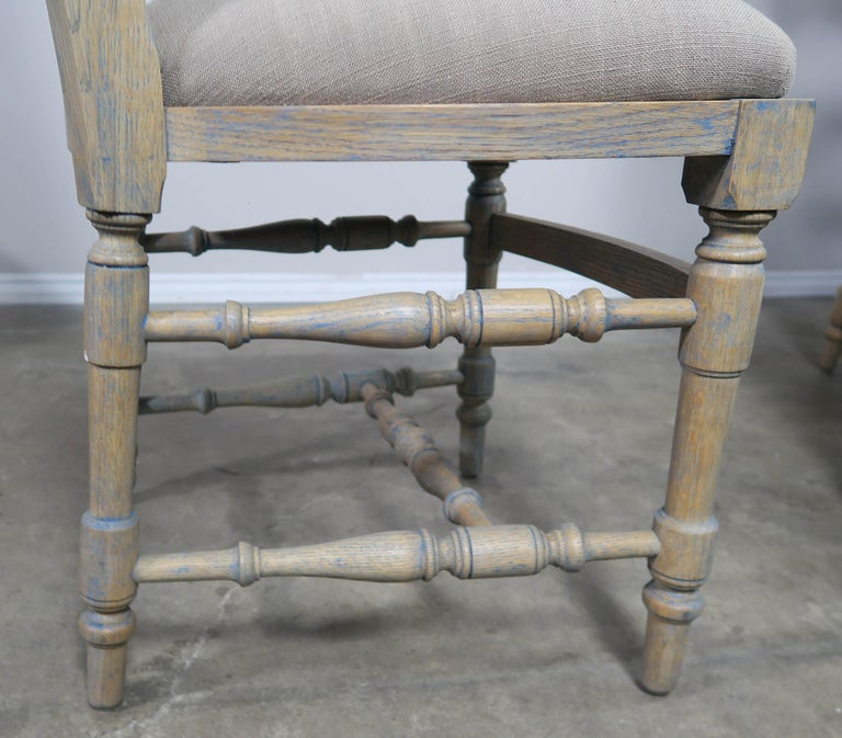 French Country Ladder Back Painted Dining Chairs, Set of 8 For Sale 1
