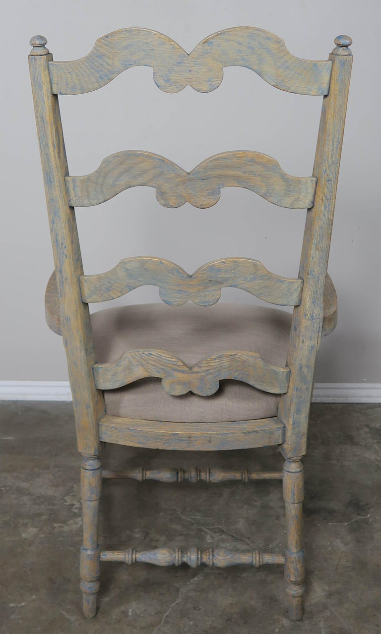 French Country Ladder Back Painted Dining Chairs, Set of 8 For Sale 4