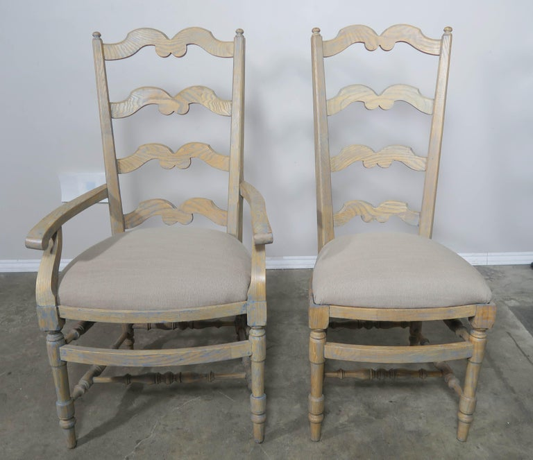 French Country Ladder Back Painted Dining Chairs, Set of 8 For Sale 8