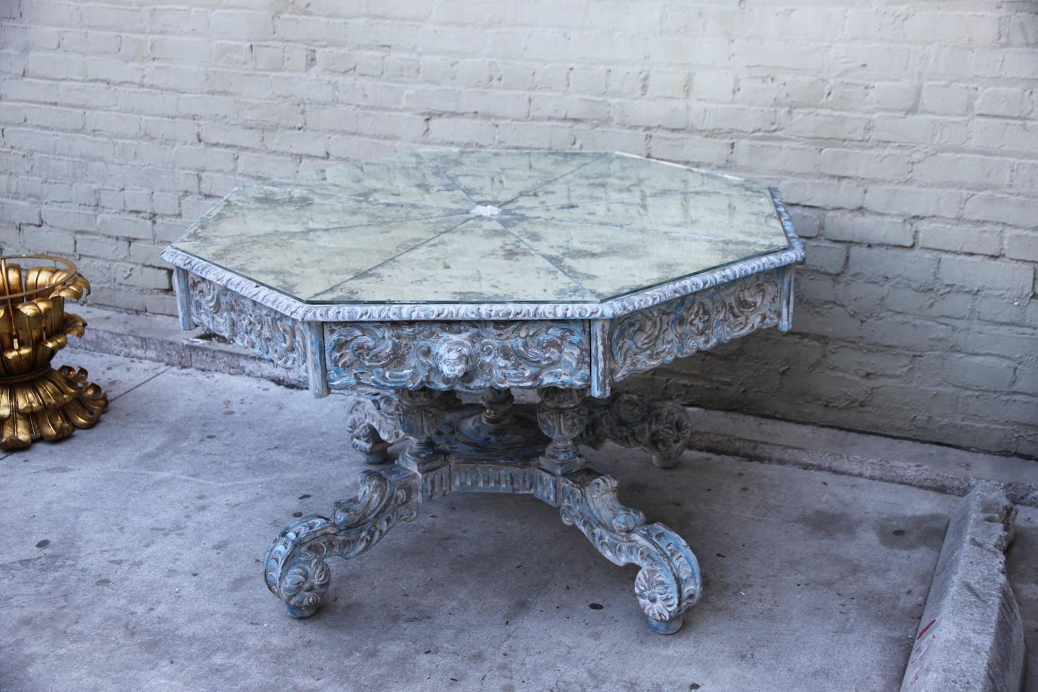 Octagonal Painted CenterDining Table w Mirrored Top For