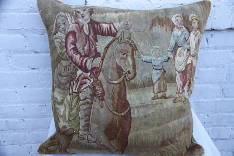 19th Century French Figural Tapestry Pillow 2