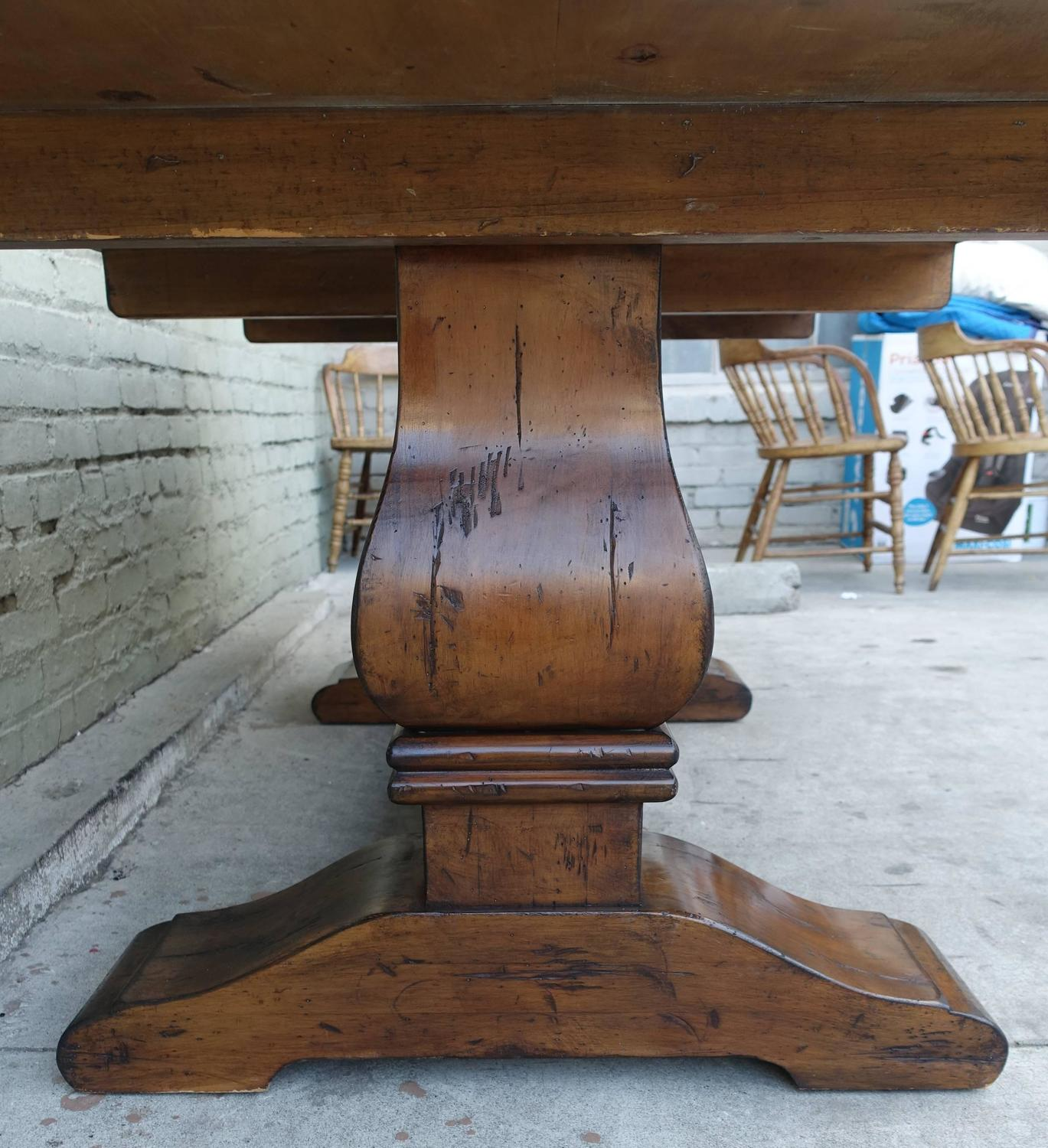 Carved Walnut Double Pedestal Dining Table With Stretcher For Sale At